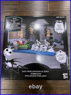 Nightmare Before Christmas Jack Skellington Sleigh Zero Inflatable New