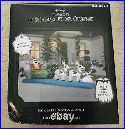 Nightmare Before Christmas Jackskellington Zero Airblown Sleigh Inflatable New