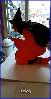 Old Halloween Black Orange Plastic Blowmold Blow Mold Witch Lite Featherstone 92