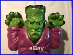 Old Vintage Frankenstein Plastic Halloween Blow Mold 37 Yard Decoration Euc