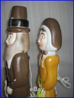 Pair Vintage 35 Don Featherstone Pilgrim Blow Molds Man Woman Thanksgiving