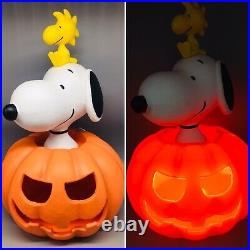 Peanuts Halloween Blow Mold Snoopy Woodstock Pumpkin LED Lighted Greeter 20 NEW