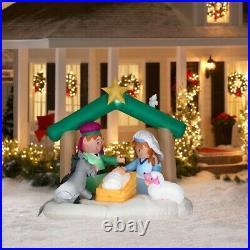 RARE 5.5ft Tall Gemmy Airblown Jesus Nativity Scene Yard Inflatable