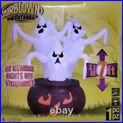 RARE 7ft Gemmy Airblown Inflatable Halloween 3 Ghosts in Black Pumpkin