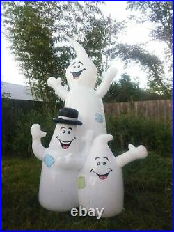 RARE Airblown Inflatable Halloween 8' 3 Goofy Ghost Trio Light Blow Up