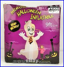 RARE Animated Casper Like Ghost Halloween Airblown Inflatable Turning Head 9 Ft
