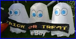 RARE GEMMY 8' Lighted Halloween Pac Man Ghost Pumpkin Airblown Inflatable Decor