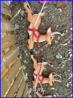 RARE Grand Venture Santa Claus Sleigh Reindeer Christmas Blow Mold With Rudolph