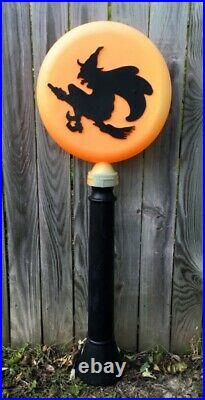 RARE Vtg 1991 Union Halloween Flying Witch Lighted Blow Mold Lollipop Lamp Post