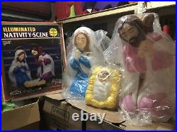 Rare Empire Illuminated Blow Mold 3 Piece Nativity Set Outdoor Scene with Box