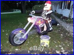 Rare Gemmy 8ft Skeleton On Motorcycle Chopper Airblown Inflatable