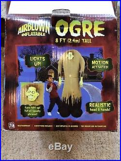 Rare Gemmy Airblown Inflatable OGRE Motion Activated Lights Up Talks 8 Ft in box