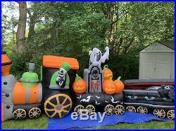 Rare Gemmy Halloween Airblown Inflatable 17ft Spooky Train-Animated