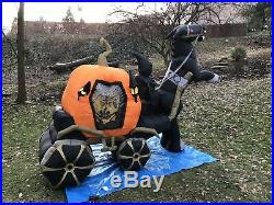 Rare Gemmy Halloween Inflatable 9ft Animated Pumpkin Carriage