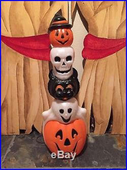 Rare New Halloween 32 Pumpkin, Skull, Black Cat & Ghost Totem Blow Mold Decor