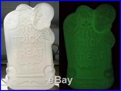 Rare Prototype Glow in the dark blow mold plastic Tombstone Skeleton
