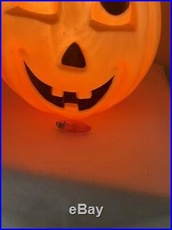 Rare Vintage Halloween Blow Mold Black Cat On Pumpkin 1993 Carolina Enterprises