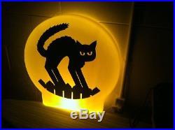 Rare Vintage Halloween Blowmold, Moon, Black Cat, Silhouette 21 Lights-up, Exc