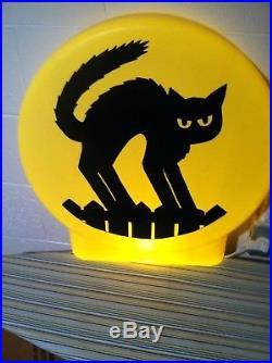 Rare Vintage Halloween Blowmold Moon Black Cat