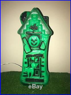 Rare Vtg Empire Green Halloween 17 Lighted Blow Mold Haunted House Decoration