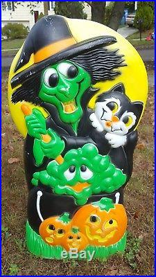 Rare Witch & Skeleton Blow Mold Two Sided Sun Hill Halloween Blowmold