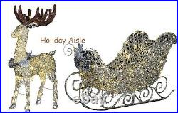SANTA SLEIGH AND REINDEER Outdoor Yard Display CLASSIC WHITE LED LIGHTS