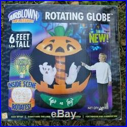 SEE VIDEO Airblown Inflatable Pumpkin Carousel Merry Go Round Rotating Halloween