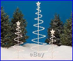 Set Of 3 Lighted Spiral Christmas Trees Ft 4 & 6 Winter Wonder Lane WHITE Clear