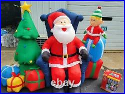 Sitting Santa Claus Inflatable Christmas Tree with Elf 8 ft Long Yard Lawn Decor