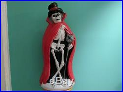 Skeleton with Cat Cane/Red Cape 34 Lighted Halloween Blow Mold / Yard Decor
