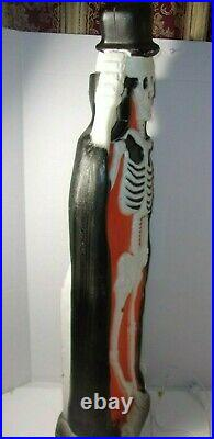 Union Products Halloween Blow Mold Lighted Skeleton with Tombstone Local Pick up