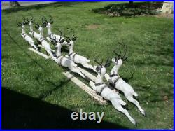 VERY RARE! ALL EIGHT BECO BLOW MOLD SANTA's REINDEER #990 WithANTLERS & SUPPORTS