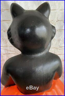 VINTAGE HALLOWEEN BLOW MOLD BLACK CAT/PUMPKIN CAROLINA/EMPIRE PLASTIC 34 Light