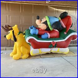 Very Rare 8 Gemmy Airblown Inflatable Mickey Minnie Pluto Sleigh Disney Holiday