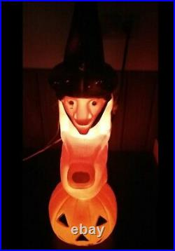 Vint Blow Mold Witch Pumpkin on Broom Light 20 Halloween Don Featherstone