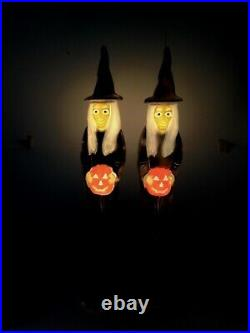 Vintage 1990's Don Featherstone Union Blow Mold Halloween Witch Pair Nice Ones