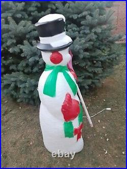 Vintage 1996 TPI Frosty Snowman Blow Mold Christmas Lighted Decor with Shovel
