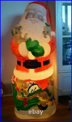 Vintage 1998 TPI 42 Lighted Blow Mold Santa With Puppies Christmas Decor