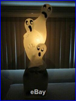 Vintage 3 Ghost in Tombstone Lighted Halloween Blow Mold Decor by UNION 41