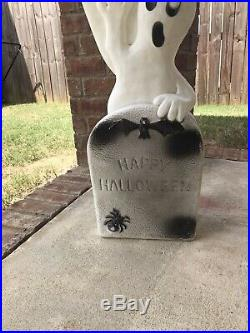 Vintage 40 inch 3 Ghost Don Featherstone Happy Halloween Tombstone Blowmold