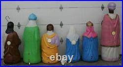 Vintage 8 Piece Set Empire Life Size Nativity Set Lighted Christmas Blow Mold
