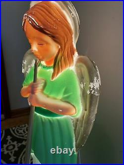 Vintage Angel Choir With Horn Nativity Lit Blow Mold Christmas Holiday 34 TPI