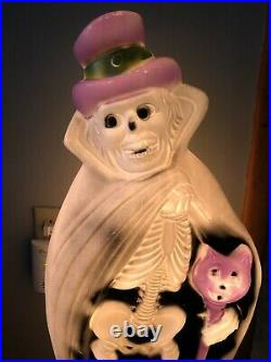 Vintage Blow Mold RARE Halloween Skeleton w Cat Cane Skeleton Cape Hat Ghoul