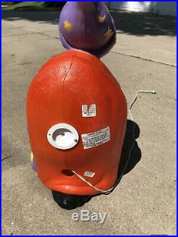 Vintage Buzzard Vulture Wizard Pumpkin Lighted Halloween Blow Mold Decor 28 TPI
