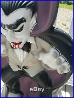 Vintage Dracula Vampire Lighted Halloween Blow Mold Decor 36 1/2 Tall