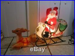 Vintage ENORMOUS Santa Claus on Sled with Reindeer Lighted Christmas Blow Mold 39