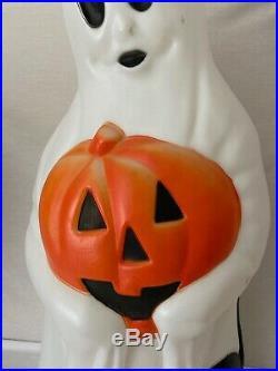 Vintage Empire 34 Halloween Ghost With Black Cat & Pumpkin Blow Mold