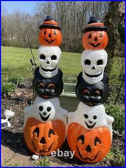 Vintage Empire Blow Mold Halloween Totem Poles(2)Black Cat, Ghost, Skull, Lighted