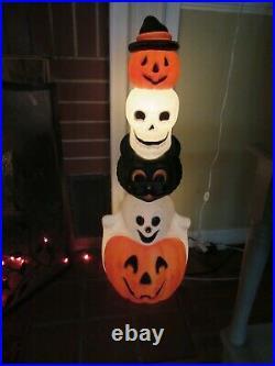 Vintage Empire Halloween 32 Lighted Totem Pole Blow Mold Ghost Skull Pumpkin