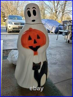Vintage Empire Halloween 34 Lighted Blow Mold Ghost with Black Cat, Pumpkin
